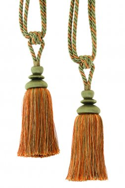 Two Curtain cord, tassels, isolated