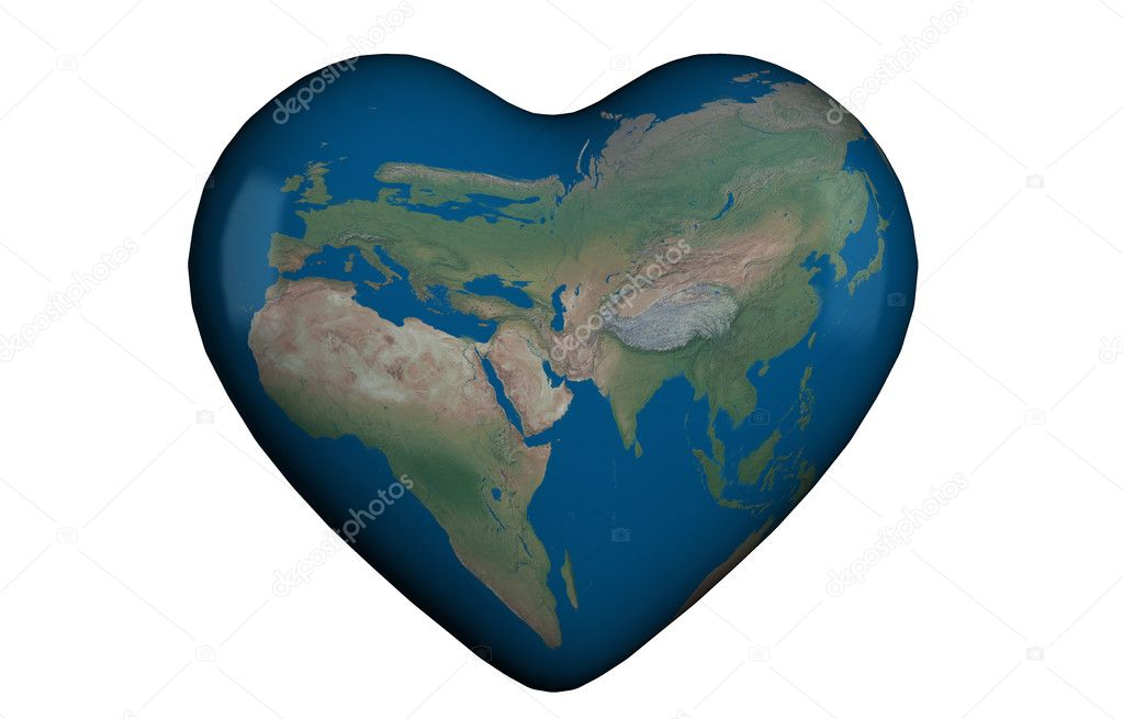 heart 3d with global map stock photo