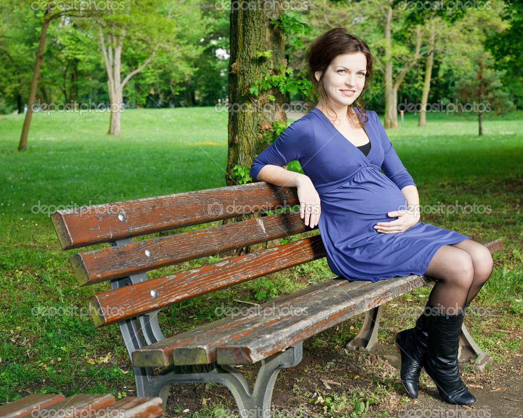 Beautiful Pregnant Woman Sitting On Bench Stock Photo Sborisov 6701083