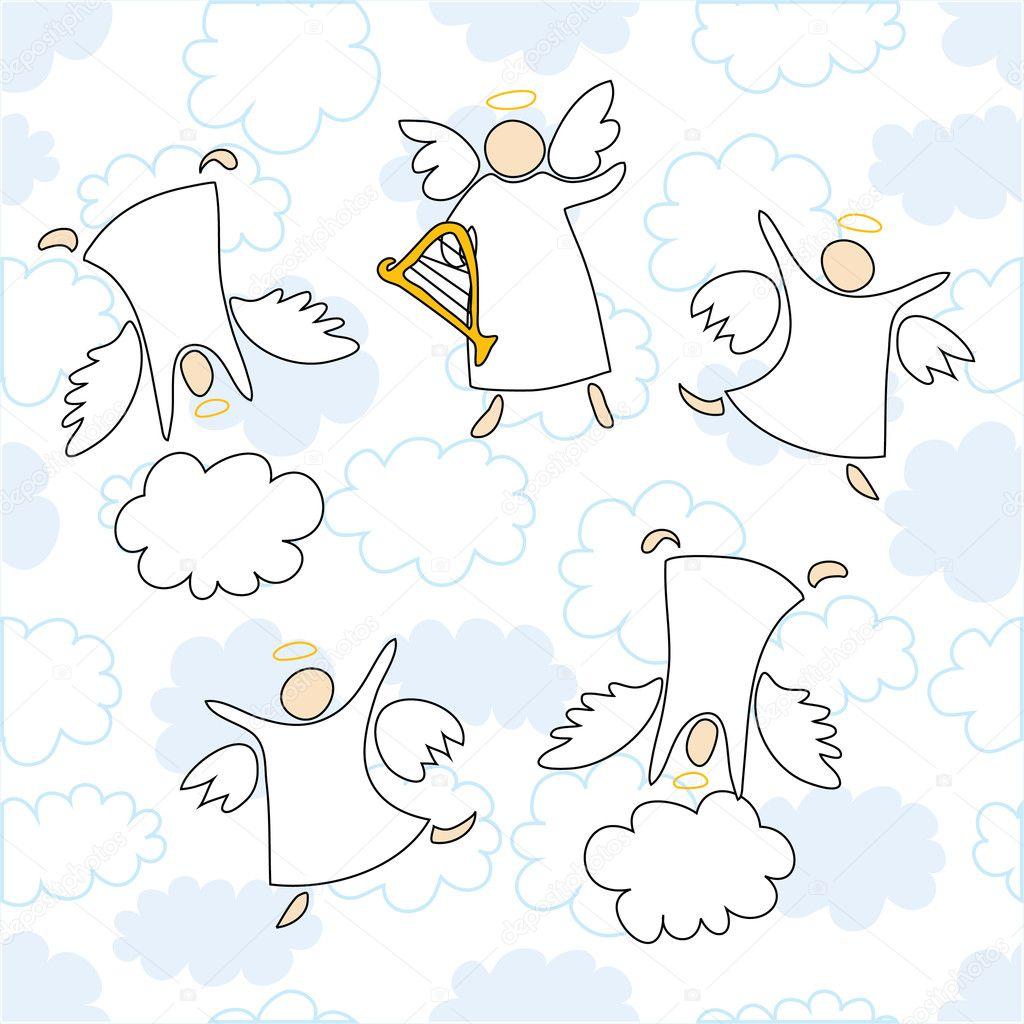 ángeles tocando y bailando — Archivo Imágenes Vectoriales © Nadzeia ...