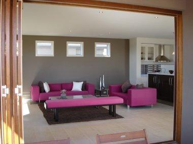 Open Plan Kitchen Lounge Pinks