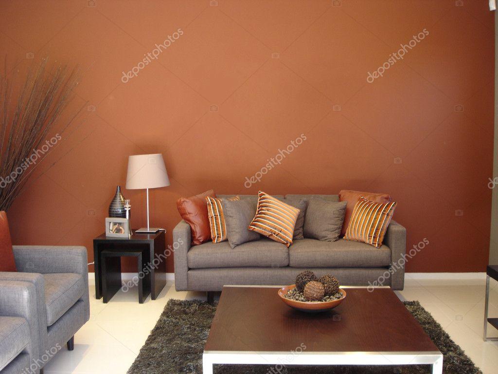 warme Lounge Zimmer Orangen — Stockfoto © scarfe #6222432