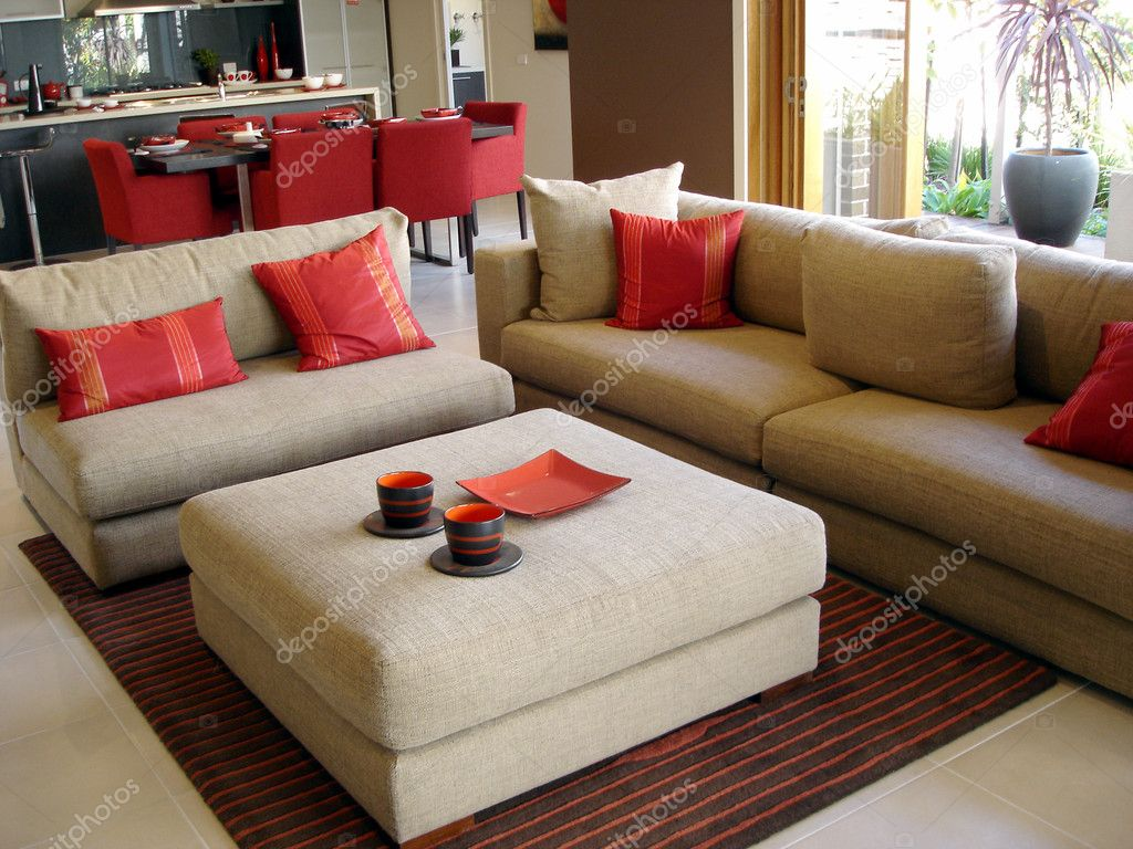 Open Plan Kitchen Dining Lounge Reds Stock Photo