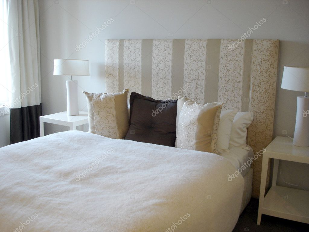 Modern Bedroom Soft Tones With Tall Striped Headboard Stock Photo Image By C Scarfe 6509746
