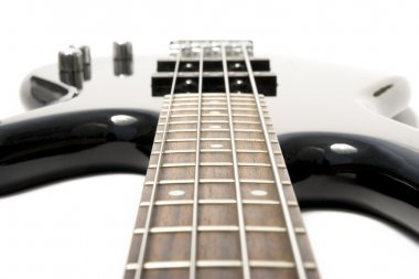 Black bass guitar with strained strings