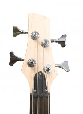 Bass guitar fingerboard head with pins and strings