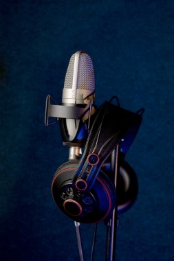 Studio microphone and headphones