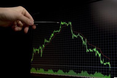 Falling forex stock chart with pen pointing on peak