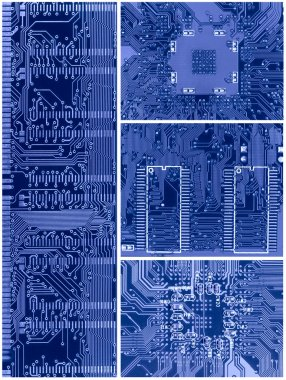 Set of blue circuit boards