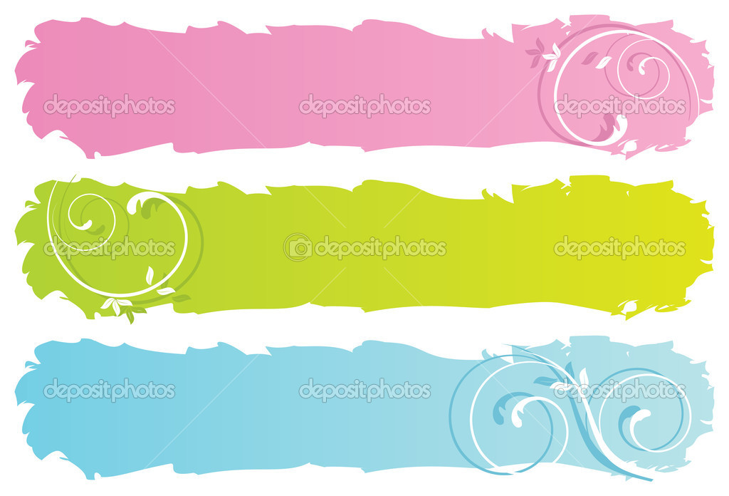 Grungy floral banners, vector illustration stock vector