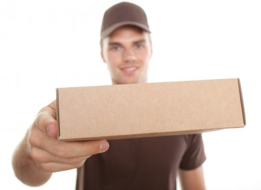 A delivery man bringing