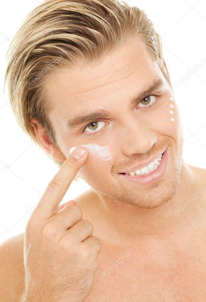 Smiling man with creme