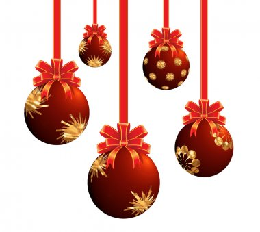 Red Christmas ornaments.