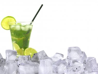 Mojito drink with ice cubes