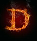 Fotografie Flaming font, letter D