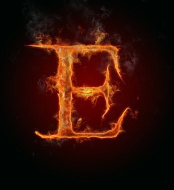 Flaming font, letter E