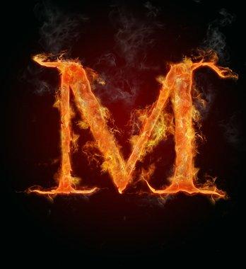 Flaming font, letter M