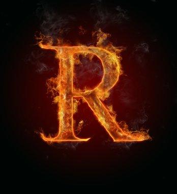 Flaming font, letter R