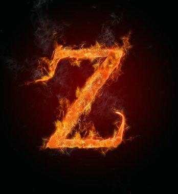 Flaming font, letter Z