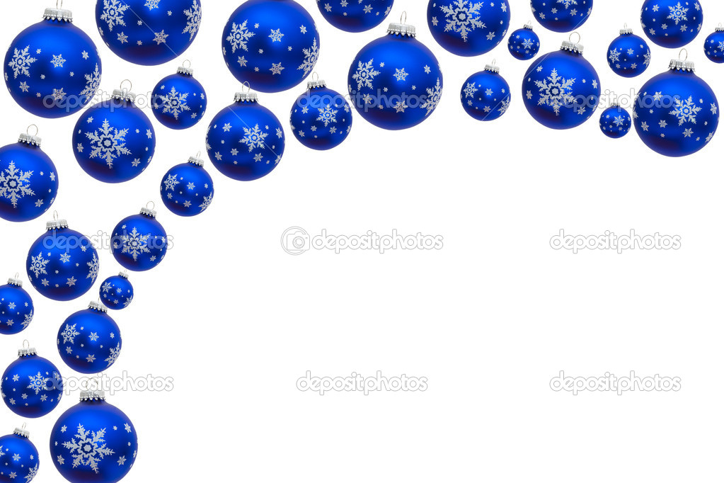 Blue Christmas Balls Making A Border With White Background Photo By Karenr