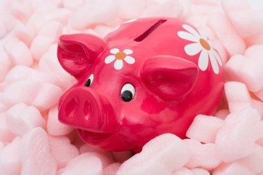 A piggy bank being protected by tyrofoam packing material, Protecting your money stock vector