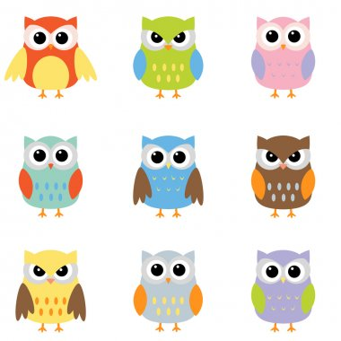Owls with nine color combinations stock vector