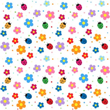 Ladybugs and flowers background