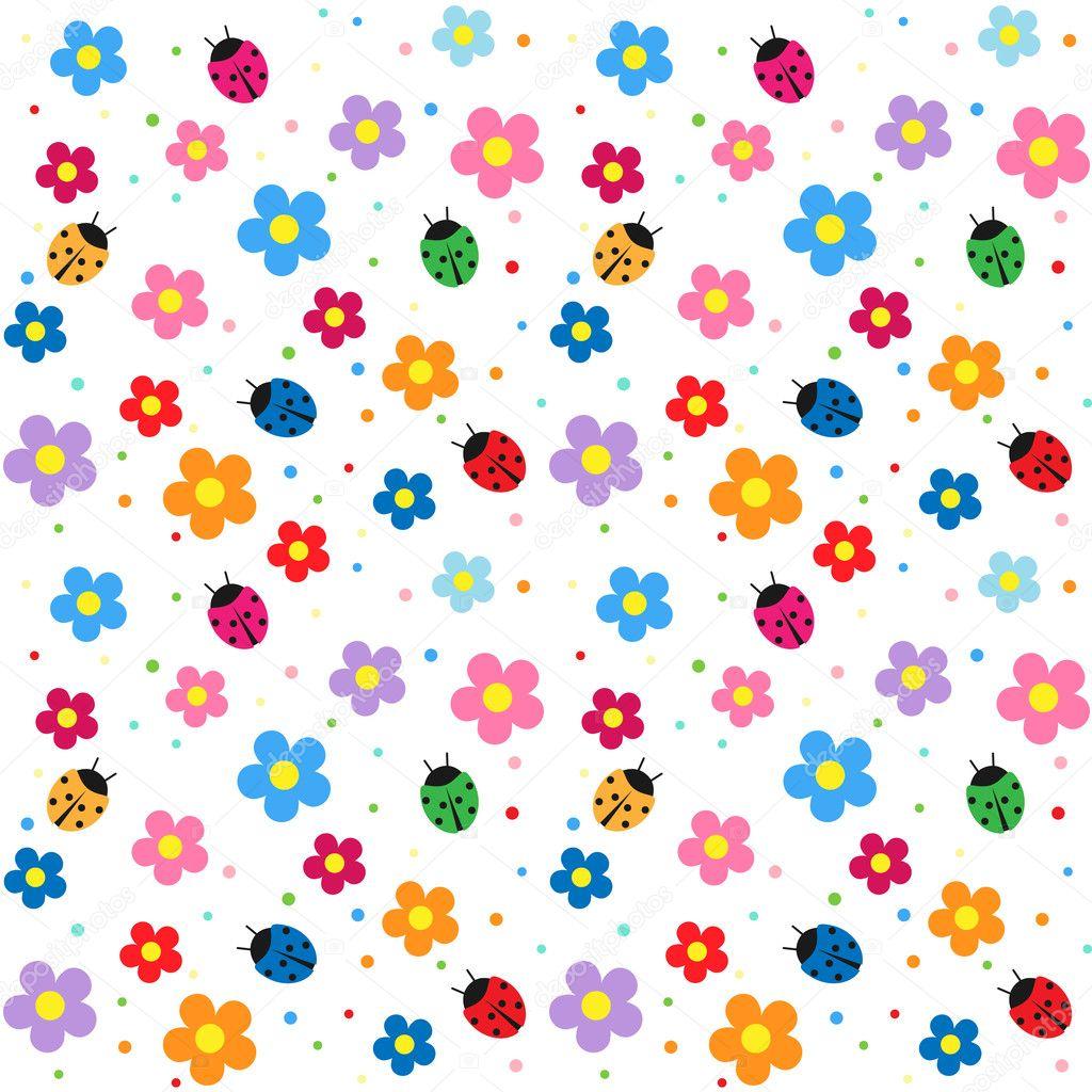 Ladybugs and flowers background