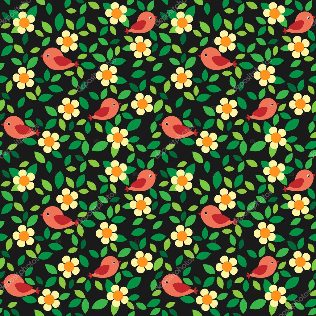 Birds and flowers background