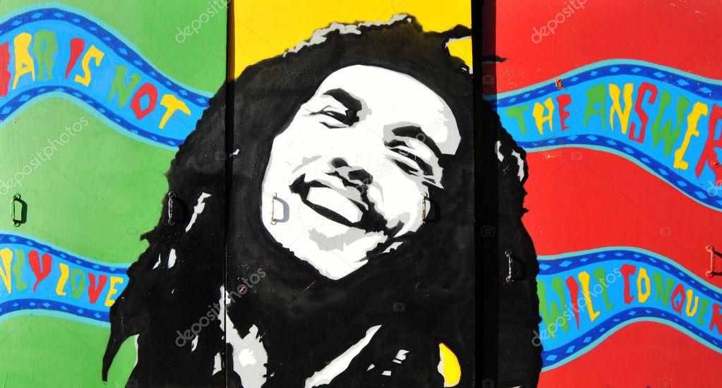 Bob Marley colorful graffiti portrait stock vector