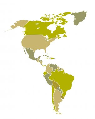 South and North American countries map
