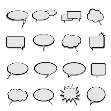 Talk, speech and thought bubbles and balloons clip art vector