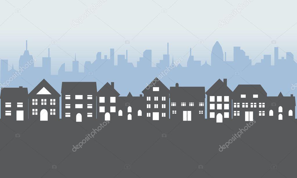 Suburban homes at night