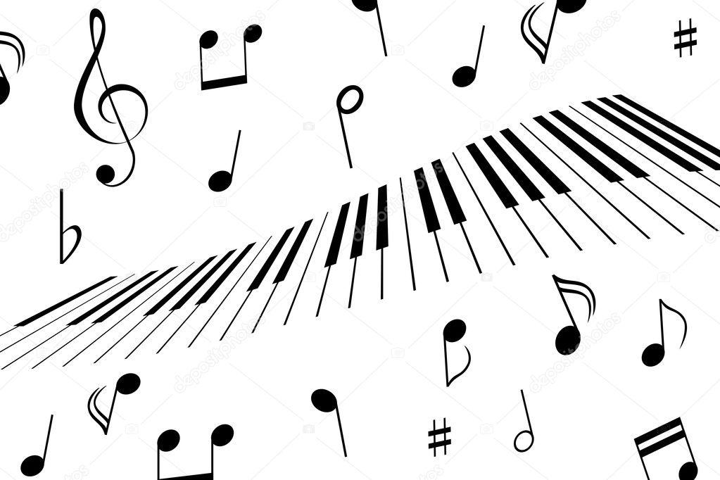 music notes and piano keys  u2014 stock vector  u00a9 soleilc  5984646