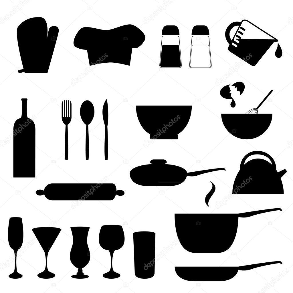 kitchen utensils silhouette vector free wwwimgkidcom