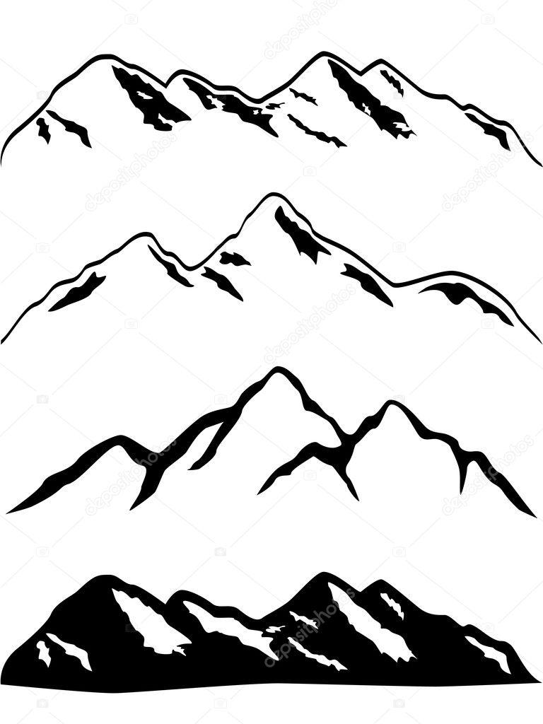 Stock Illustration Snowy Mountain Peaks on Snow 1 3 Inches