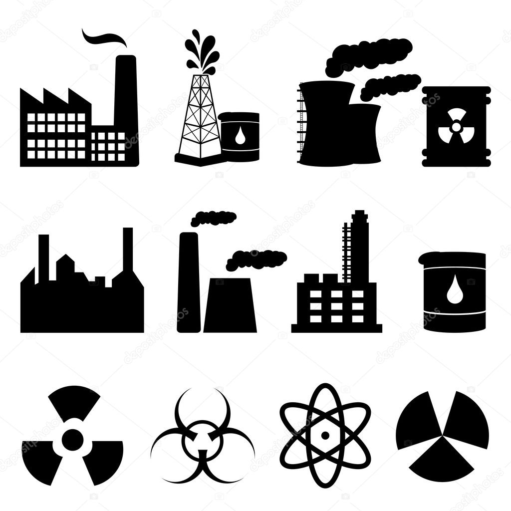 Industrial buildings and signs icon set