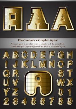 Metal Gold Emboss Alphabet