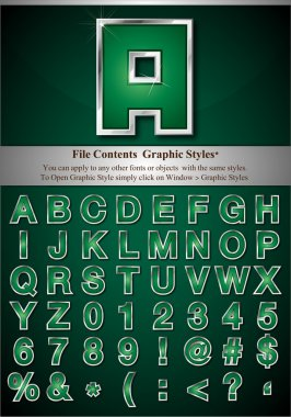 Green Alphabet with Silver Emboss Stroke
