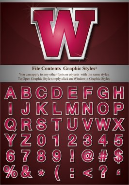 Pink Alphabet with Silver Emboss Stroke