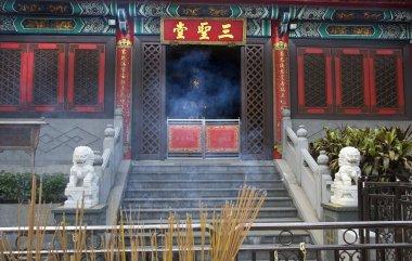 Incense Smoke Burner Stone Lions Wong Tai Sin Taoist Temple Kowl