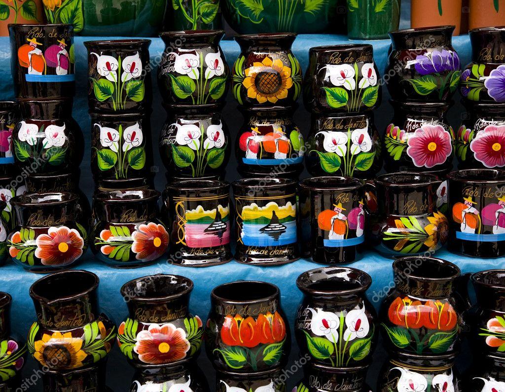 bunte souvenir tassen mexiko stockfoto 6110519. Black Bedroom Furniture Sets. Home Design Ideas
