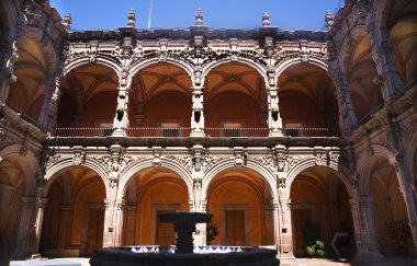 Fountain Courtyard Orange Arches Sculptures Queretaro Mexico
