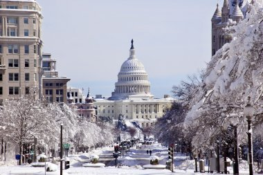 US Capital Pennsylvania Avenue After the Snow Washington DC