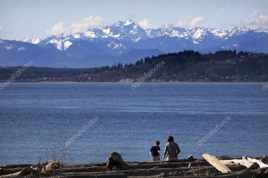 Day at the Beach Mother and Son in Distance Edmonds Washington