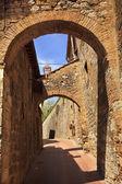 Fotografie mittelalterliche Arch Stein Turm mittelalterliche Stadt San Gimignano Toskana es
