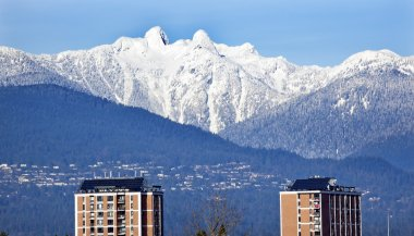 Vancouver Skyline Snowy Two Lions Mountains British Columbia