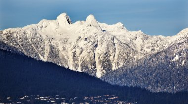 Vancouver Houses Snowy Two Lions Mountains British Columbia