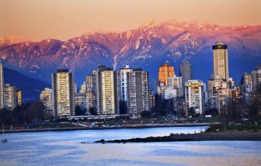 Vancouver Skyline Harbor English Bay Snow Mountains Sunset Briti