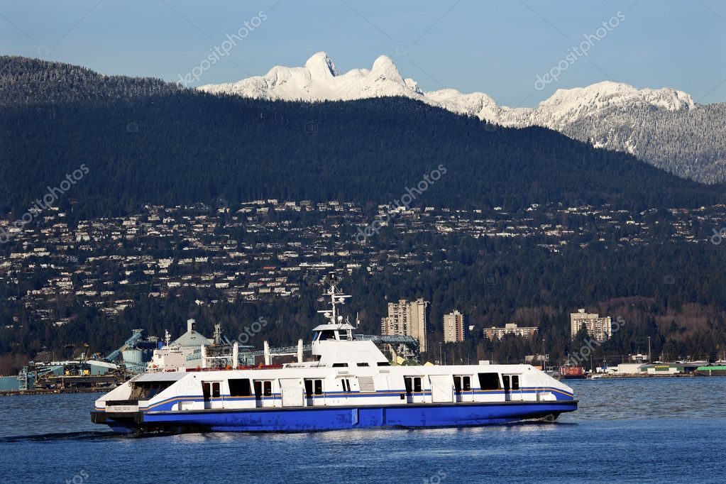 Vancouver Harbor Ferry Snowy Two Lions Mountains British Columbi